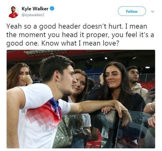 Kyle Walker tweet about Harry Maguire