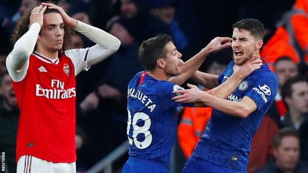 Jorginho celebrates scoring for Chelsea against Arsenal