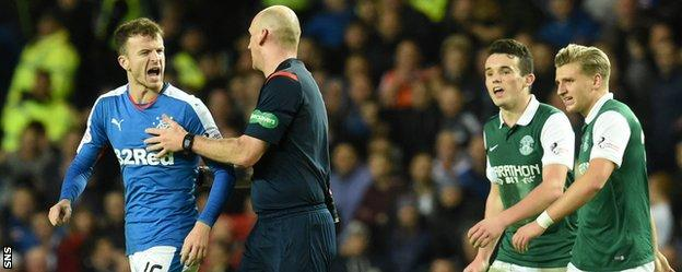 Rangers' Andy Halliday is sent off by referee Bobby Madden