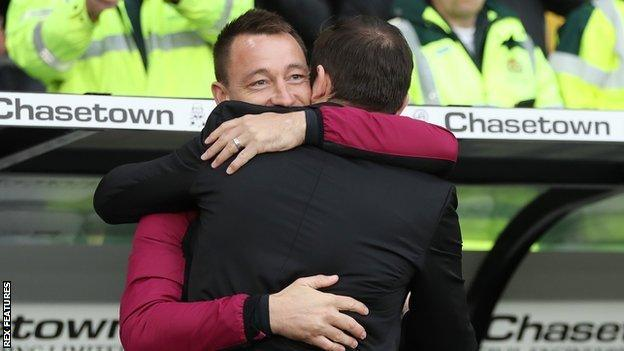 There was a hug for old Chelsea team-mates John Terry, now Villa's assistant coach, and Frank Lampard, the derby manager, ahead of Saturday's game