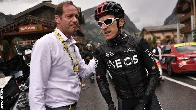 Tour de France race organiser Christian Prudhomme and Geraint Thomas