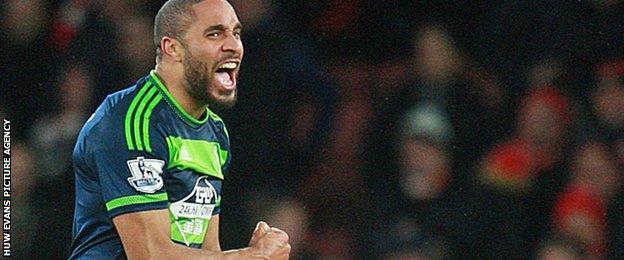 Ashley Williams celebrates Swansea's win over Arsenal