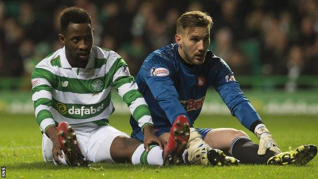 Moussa Dembele sits on the pitch with Hamilton keeper Gary Woods