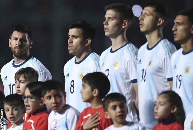 Lionel Messi lines up for Argentina before a friendly with Nicaragua