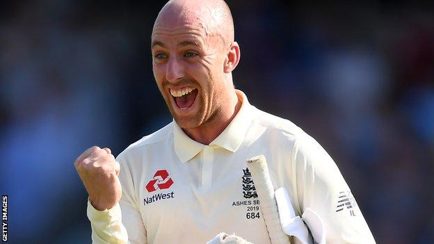 Jack Leach celebrates England's victory over Australia in the 2019 Ashes Test at Headingley