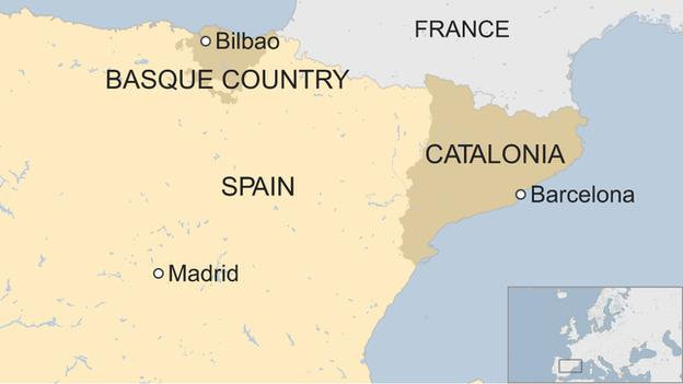 Map of Basque Country and Catalonia in Spain
