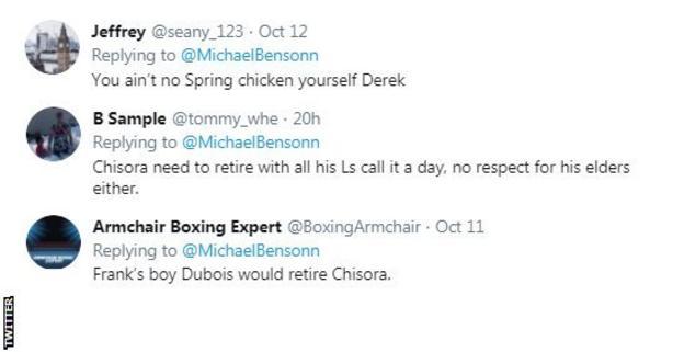 Twitter reaction to Frank Warren and Derek Chisora beef