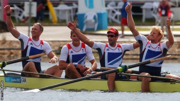Alex Gregory (left) wins Olympic gold