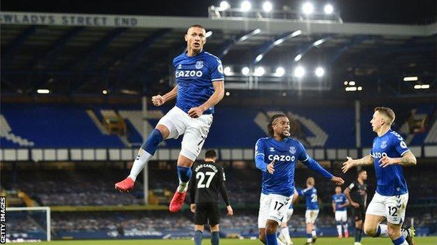 Richarlison celebrates equalising for Everton against Manchester City in the Premier League