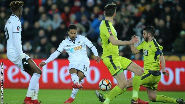 Routledge scoring Swansea's sixth goal of the night
