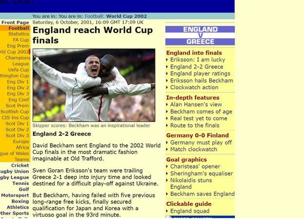 How the BBC Sport website covered the game in 2001