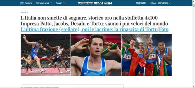 The front page of the Corriere Della Sera website