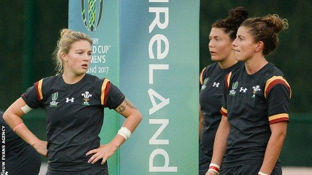 Wales' women wait for a Canada conversion during their 52-0 defeat in the World Cup
