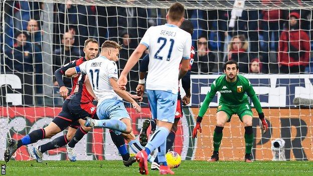 Ciro Immobile scores against Genoa