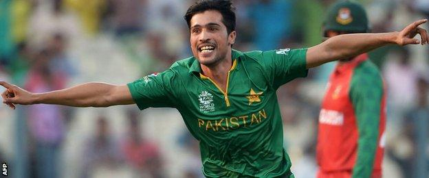 Mohammad Amir celebrates a wicket