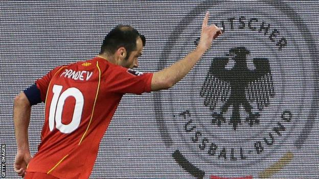 North Macedonia's Goran Pandev celebrates scoring during a World Cup 2022 qualifier against Germany