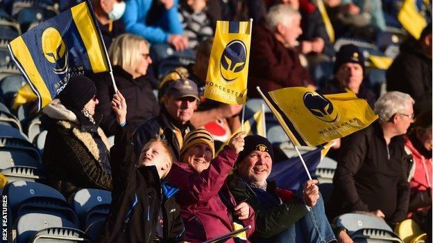Worcester fans in the ground at Sixways for the first time since March