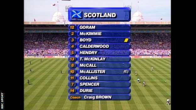 Snapshot showing the Scotland team vs England at Euro 96: Goram; Calderwood, Hendry, Boyd; McKimmie, McCall, McAllister, Collins, McKinlay; Durie, Spencer