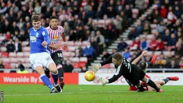 Sam Gallagher puts Birmingham in front against Sunderland at the Stadium of Light