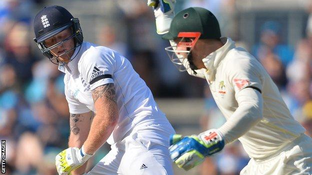 Peter Nevill celebrates as Ben Stokes is out for a duck