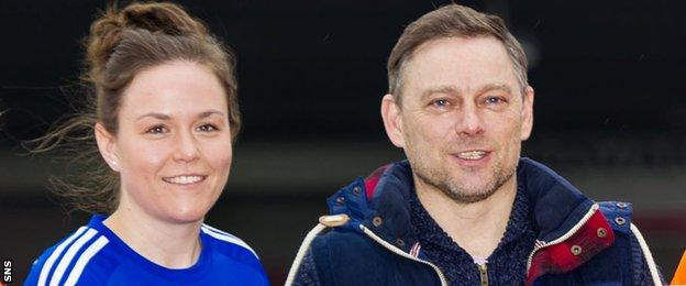 Lee Alexander (left) with Eddie Wolecki Black, who left as Glasgow City head coach in July