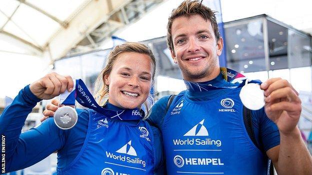 Nikki Boniface and Ben Saxton celebrate their silver medal success