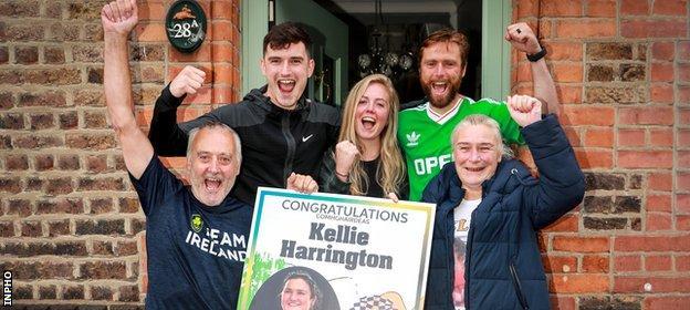 Harrington's family celebrate her success in Portland Row, Dublin