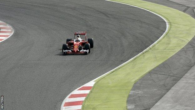Ferrari's Sebastian Vettel in training at the Circuit de Barcelona-Catalunya