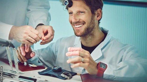Romain Grosjean visits a watch factory
