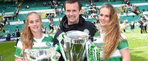 Ronny Deila and his two daughters and the Premiership title