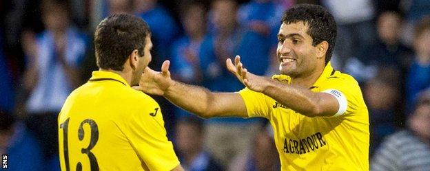 Alashkert's Gevorg Poghosyan and Vaghan Minasyan celebrate at full-time