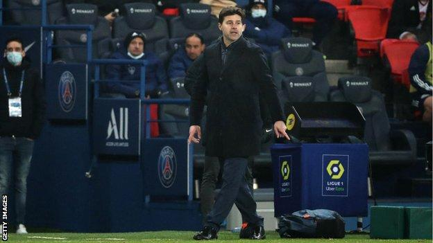 Paris St-Germain boss Mauricio Pochettino gives instructions from the touchline during a Ligue 1 game