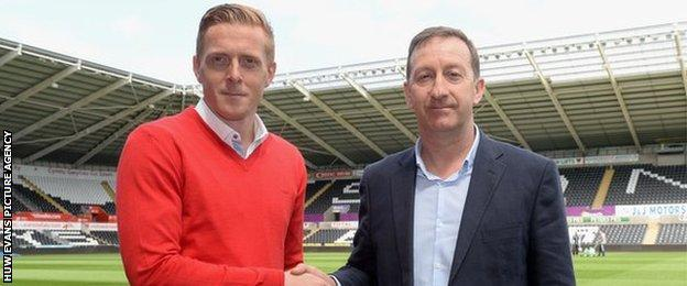Swansea manager Garry Monk and chairman Huw Jenkins