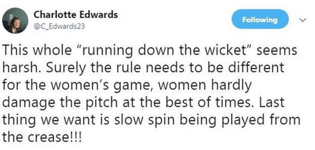 Charlotte Edwards tweet