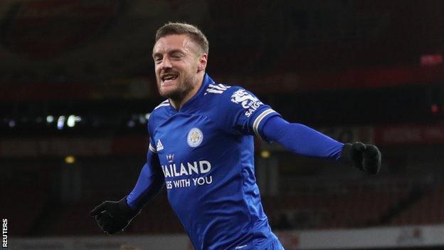 Leicester's Jamie Vardy celebrates his goal