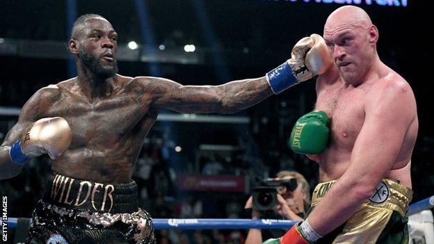 Deontay Wilder and Tyson Fury during their fight in Los Angeles in December 2018