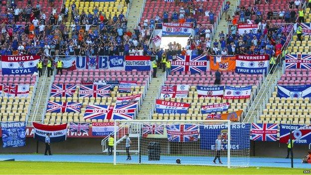 Rangers fans in Skopje