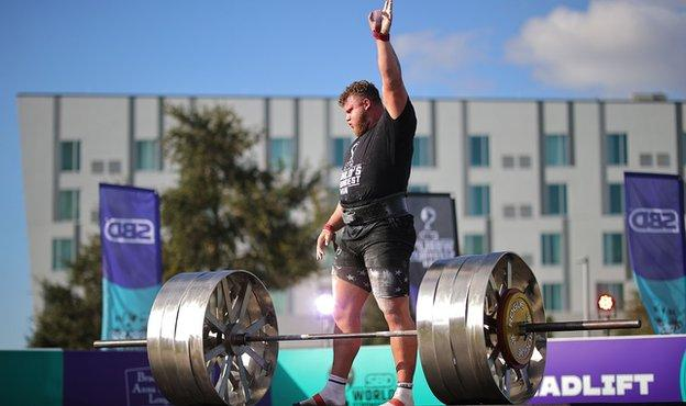 Tom Stoltman competes at the World's Strongest Man