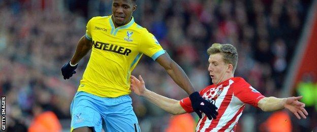 Crystal Palace's Wilfried Zaha and Southampton's Matt Targett