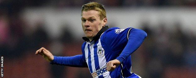 Billy Mckay in action for Wigan