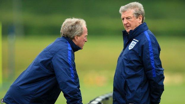 England coach Roy Hodgson (right)
