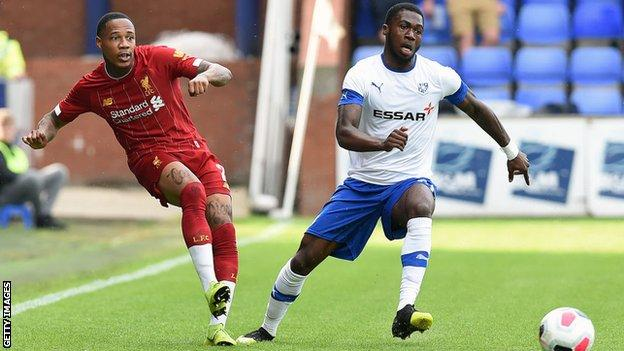 Nathaniel Clyne playing for Liverpool against Tranmere