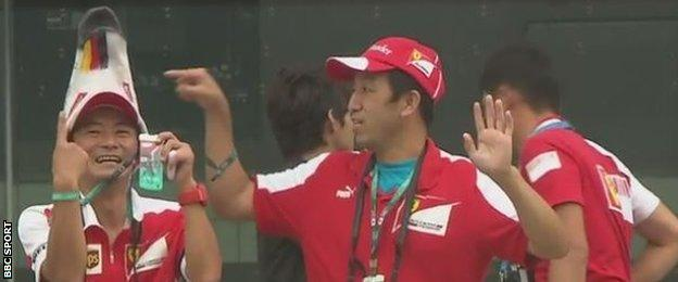 Japanese fans at the Japanese grand prix