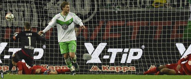 Nicklas Bendtner celebrates a goal for Wolfsburg