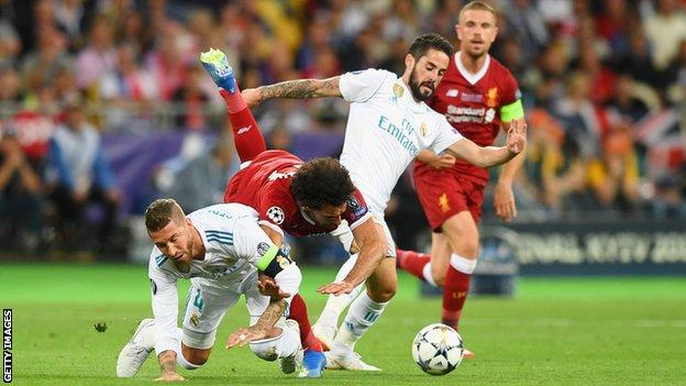 Sergio Ramos และ Mohamed Salah