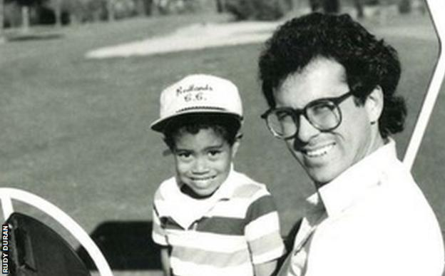 Tiger Woods and his coach Rudy Duran
