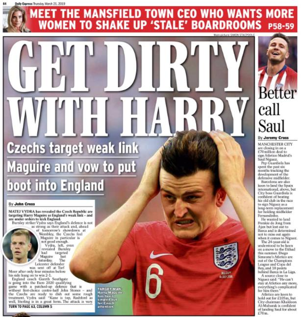 Czech Republic see Harry Maguire as England's weak link, reports The Express