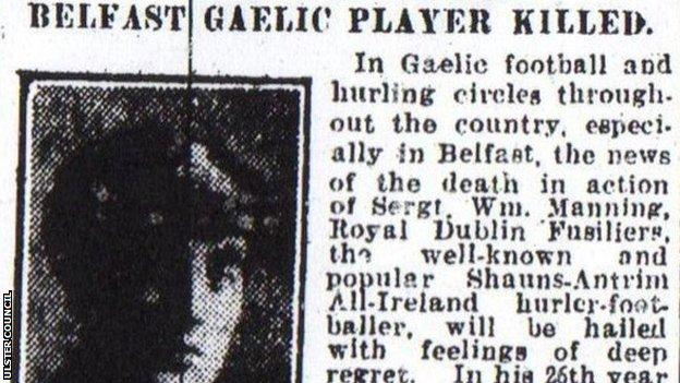 A local newspaper reports the news of William Manning's death