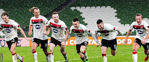 Dundalk celebrate their win at the final whistle