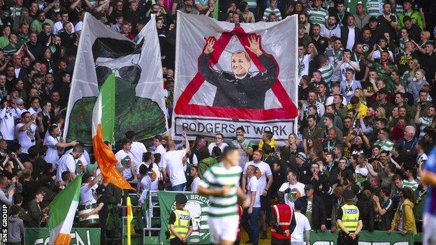 Celtic fans displayed banners during the win over Linfield in Glasgow